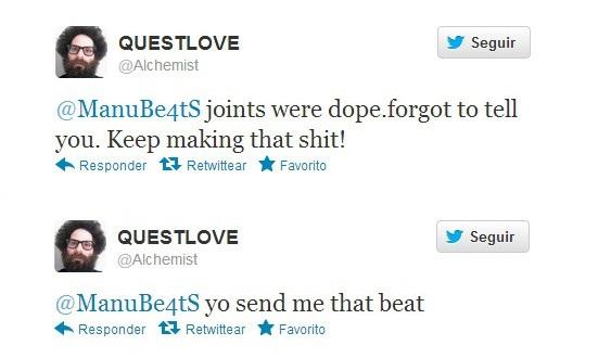 Tweets de Alchemist a Manu Beats