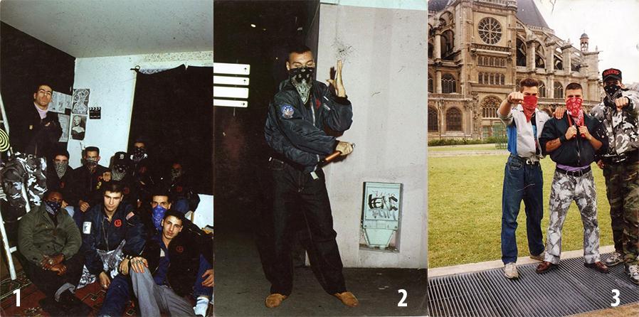 1. Ducky Boys. 2. William, un Ducky Boy gitano con 'nunchaku'. 3 Carlos, Rocky y Bruno Ducky Boys preparados para la caza tras las manifestaciones del 1 de mayo de Le Pen.