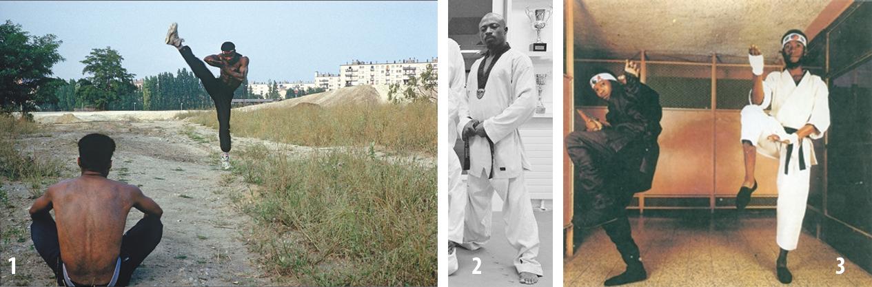 1. Nikky e Yves Le Vent Black Dragoons se entrenan en el Parc des Beaumonts en Montreuil (Foto Yan Morvan). 2. Jo Dalton Black Dragoons, campeón de Francia de taekwondo. 3. Yves Le Vent y Coronel Eddy (Foto Yan Morvan).