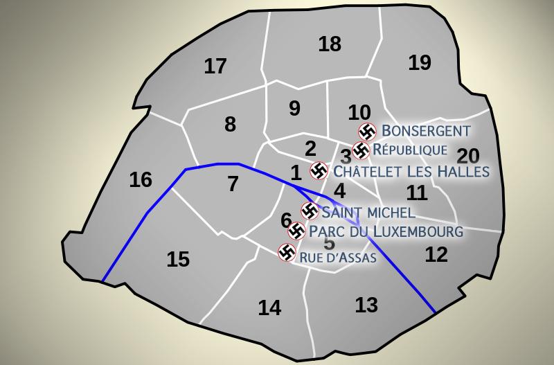 Mapa con los 20 arrondissements o distritos de París y los principales feudos neonazis