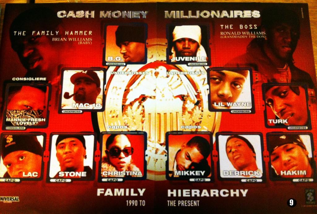 9: Otra de las piezas de colección de Kruze. Póster promocional del roster completo de Cash Money Records antes de la gran desbandada a finales del 2001. En él se ve a los Hot Boys, Mannie Fresh, Mack 10 (primer fichaje de CMR de un artista fuera de NOLA) y gente no tan conocida como Hakim (hermano de B.G.), Mikkey Halsted (Chicago), Stone y Christina, que formaban el grupo The Capos y que nunca llegarían a sacar nada. Posteriormente Lac y Stone formaron el grupo D-Boyz tras algunas colaboraciones en el sello (Undisputed OST). También sale el sobrino de Baby, Lil Derrick aka Bulletproof que fue asesinado al año siguiente y que iba a ser el cuarto miembro de los Hot Boys en un principio, hasta que fue reemplazado por Turk. Hace unos meses se conoció la noticia de la muerte de Stone en prisión, lo que dota al póster de mayor valor.