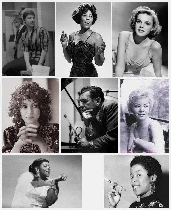 Hal Mooney rodeado de algunas de las cantantes con las que trabajó. Empezando por arriba y de izquierda a derecha: Beverly Kenney, Gloria Lynn, Judy Garland, Esther Ofarim, Helen Merrill, Dinah Washington y Sarah Vaughan