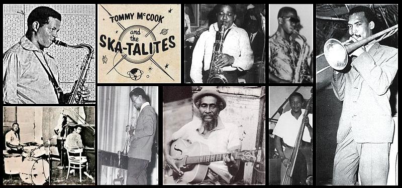 Los nueve Skatalites originales. Fila de arriba: Tommy McCook, Roland Alphonso, Lester Sterling y Don Drummond (trombón). Fila de abajo: Lloyd Knibb y Jackie Mittoo comparten imagen, Johnny Moore, Jah Jerry y Lloyd Brevett.