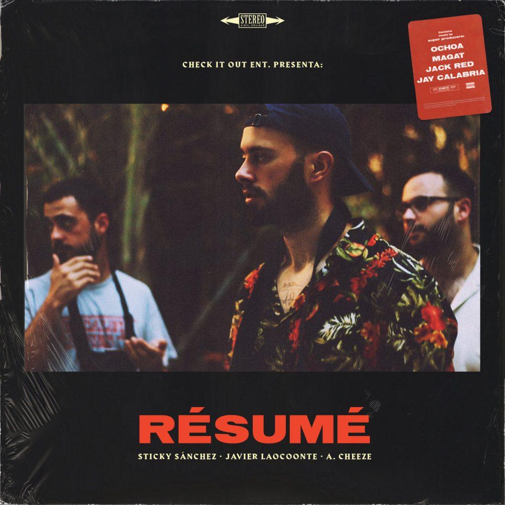 """Portada de """"Résumé EP"""", último trabajo de A Cheeze, Javier Laooconte y Sticky Sánchez lanzado por Check It Out Films"""